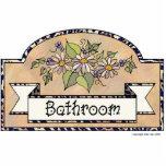"""&quot;Bathroom&quot; - Decorative Sign Statuette<br><div class=""""desc"""">Bathroom Door sign. Beige background with floral decoration</div>"""