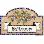 "&quot;Bathroom&quot; - Decorative Sign Statuette<br><div class=""desc"">Bathroom Door sign. Beige background with floral decoration</div>"
