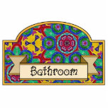 """Bathroom - Decorative Sign Statuette<br><div class=""""desc"""">Bathroom door sign. Bright &amp; colorful background originally hand painted then digitally textured and modified for added interest.  This patter has a abstract floral design by Jean Hall</div>"""