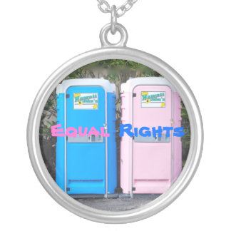 Bathroom Equal Rights Round Pendant Necklace