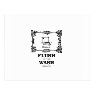 bathroom flush wash postcard
