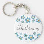 Bathroom Forget me nots floral border keychain