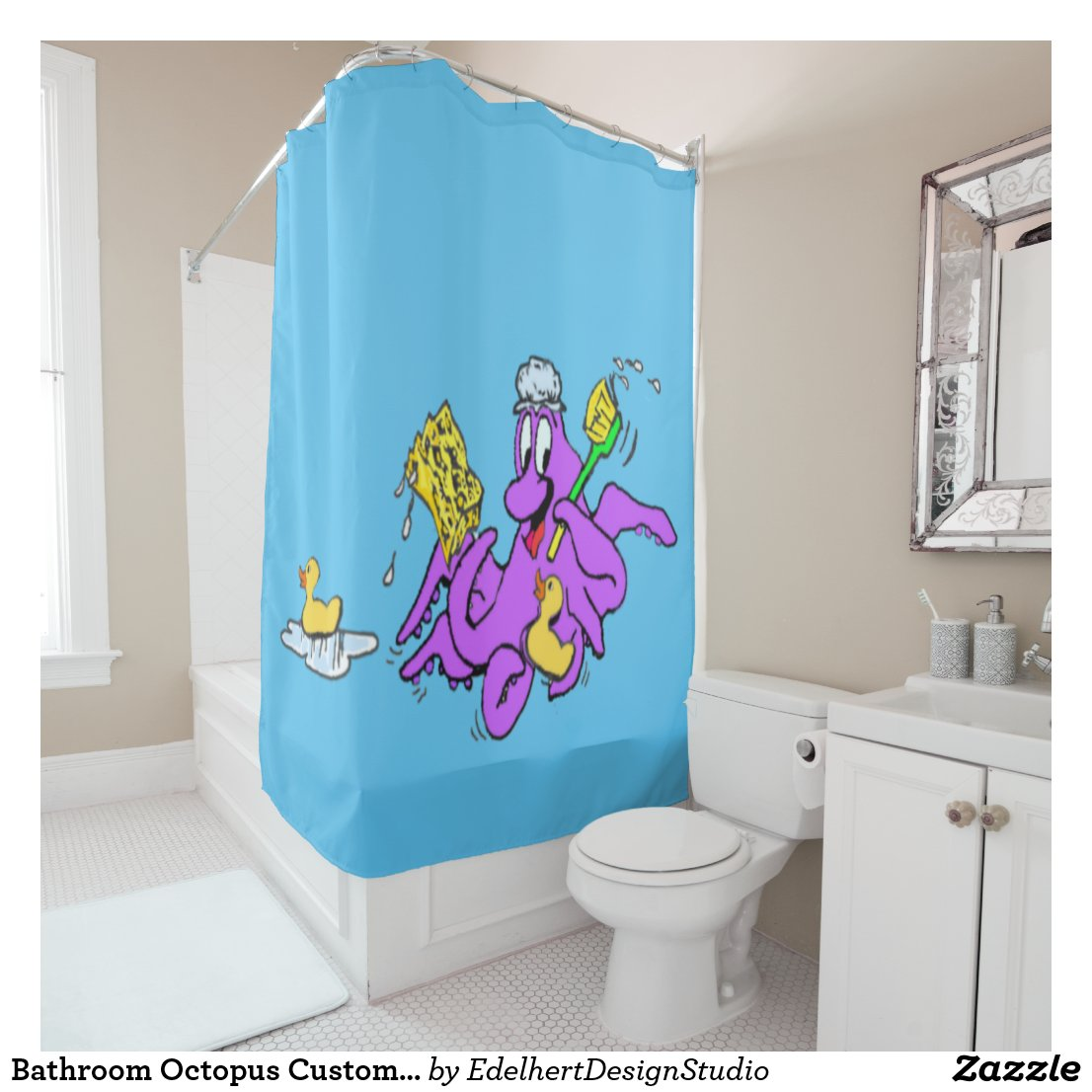 Bathroom Octopus Customizable Shower Curtain