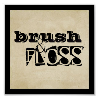 bathroom poster text brush and floss wall art