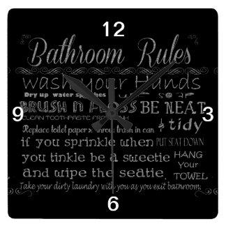 Bathroom Rules Square Wall Clocks