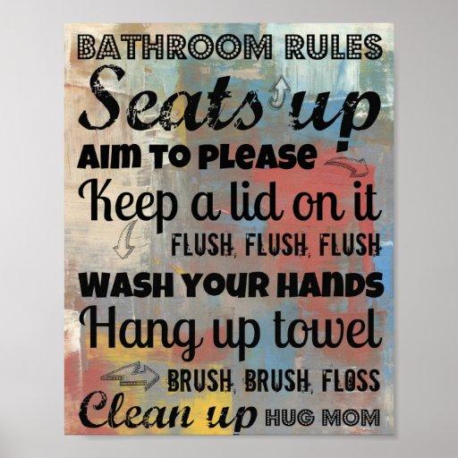 bathroom rules poster hug mom 8x10 zazzle