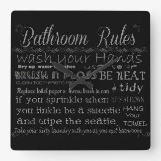 Bathroom Rules Square Wall Clock