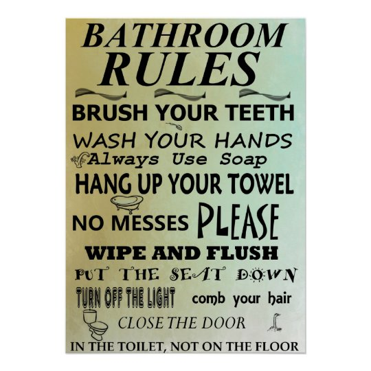 Bathroom Rules Subway Art Poster Zazzle