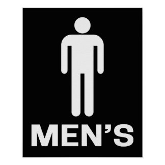 Bathroom Sign Men s Black and White Poster. Bathroom Sign Posters   Zazzle