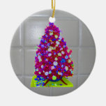 Bathroom Tile Pink Tree Double-Sided Ceramic Round Christmas Ornament