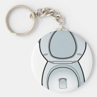 Bathroom Toilet Art Basic Round Button Keychain