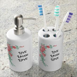 Bathroom toothbrush holder set live laugh love
