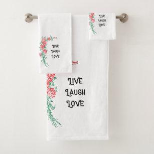 Bathroom Towel Set Live Laugh Love Guest