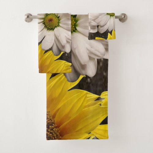 Bathroom Towel Sets Sunflower.Something for everyone offers customized personalized bathroom towels especially for you designed to enhance the beauty of your home or a thoughtful gift for your loved one.   This uniquely designed bathroom towel set will not only impress your friends and family. It will make your bathroom look spacious and inviting. While you are here already you may want to view other related bathroom items such as, shower curtain liners, soap dispensers, bath mats, bath sets, colorful children's shower curtains, bath scales, man cave shower curtains, bathroom accessories, soap dish and teenagers hottest shower curtains. Thank you for shopping at something for everyone!