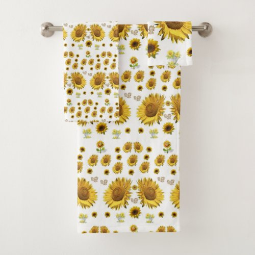 Bathroom Towel Sets Sunflowers