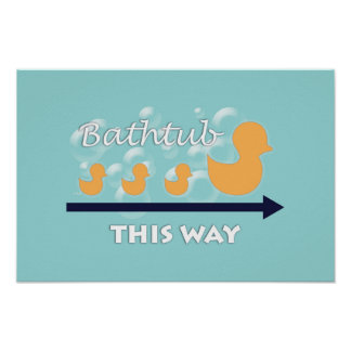 "Bathroom Wall Art ""Ducks in a row"" Poster"