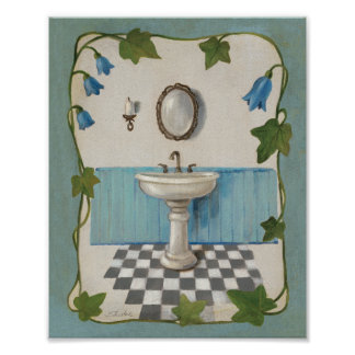 Bathroom with Floral Border Poster
