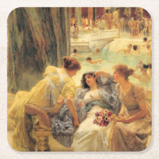 Baths of Caracalla by Lawrence Alma-Tadema Square Paper Coaster