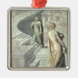 Bathsheba que visita a David, c.1553 Adorno Cuadrado Plateado