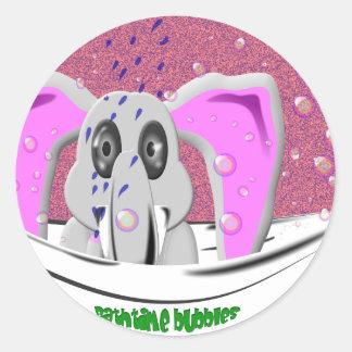 Bathtime Elephant Classic Round Sticker