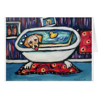 Bathtime feliz amarillo de Labrador Felicitación