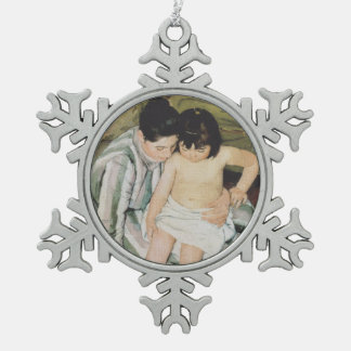 Bathtime Mother and Child Snowflake Pewter Christmas Ornament