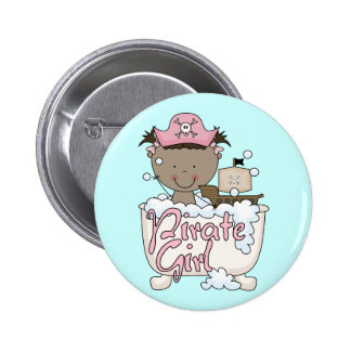 Bathtub African American Pirate Girl Tshirts Buttons