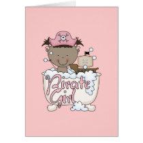 Bathtub African American Pirate Girl Tshirts Card