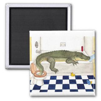 Bathtub Alligator 2 Inch Square Magnet