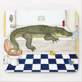 Bathtub Alligator Mouse Pad