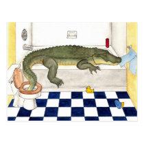 Bathtub Alligator Postcard