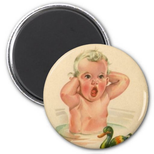 Bathtub Baby and Duck Vintage Retro Magnet