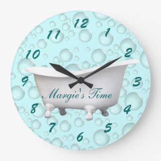 Bathtub & Bubbles Clock- customize & personalize Large Clock