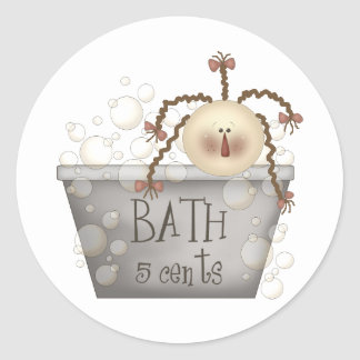 bathtub classic round sticker