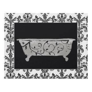 Bathtub in Black and White Panel Wall Art