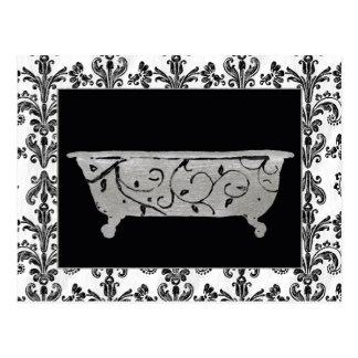 Bathtub in Black and White Postcard