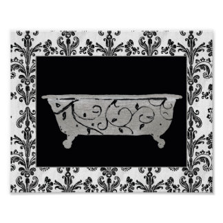 Bathtub in Black and White Poster