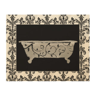 Bathtub in Black and White Wood Wall Decor