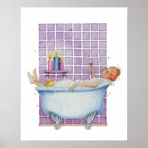 Bathtub Joy Poster print