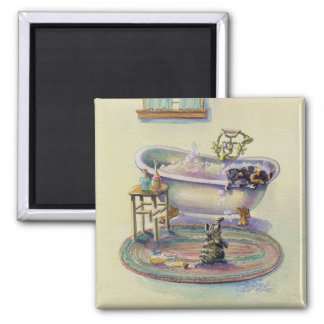 BATHTUB KITTENS by SHARON SHARPE 2 Inch Square Magnet