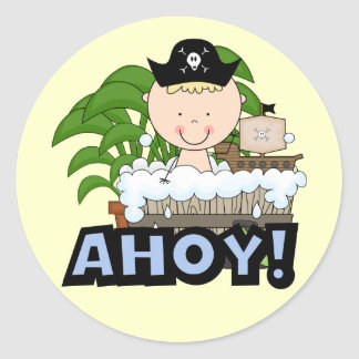 Bathtub Pirates - Blond Boy Tshirts and Gifts Classic Round Sticker