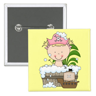 Bathtub Pirates - Blond Girl Tshirts and Gifts Pinback Button