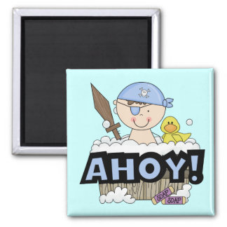 Bathtub Pirates - Brunette Boy Tshirts and Gifts 2 Inch Square Magnet