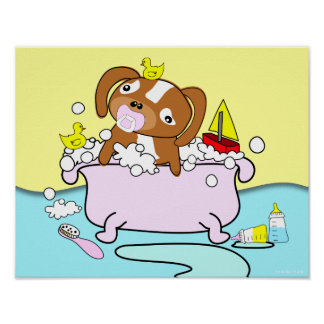 Bathtub Puppy Pacifier Poster 14
