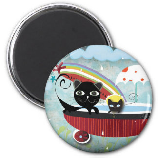 Bathtub Rain Cat Baby We are Safe Magnet