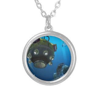 Bathysphere in the Ocean Depths Round Pendant Necklace