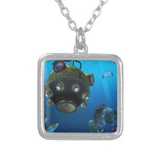 Bathysphere in the Ocean Depths Square Pendant Necklace
