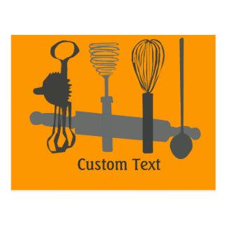 Batidores de huevo cuchara y diseños del rodillo tarjeta postal