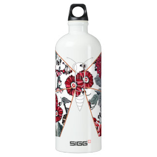 batik and butterfly no.1 aluminum water bottle