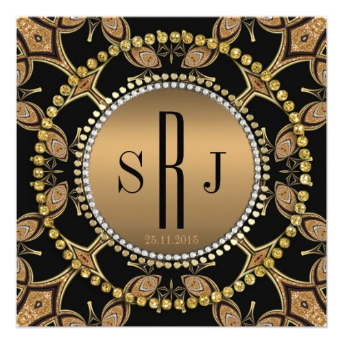 Batik Art Deco Black Gold Monogram Party Invite